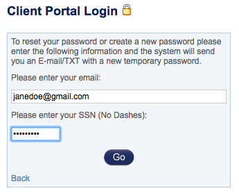 Password creation form